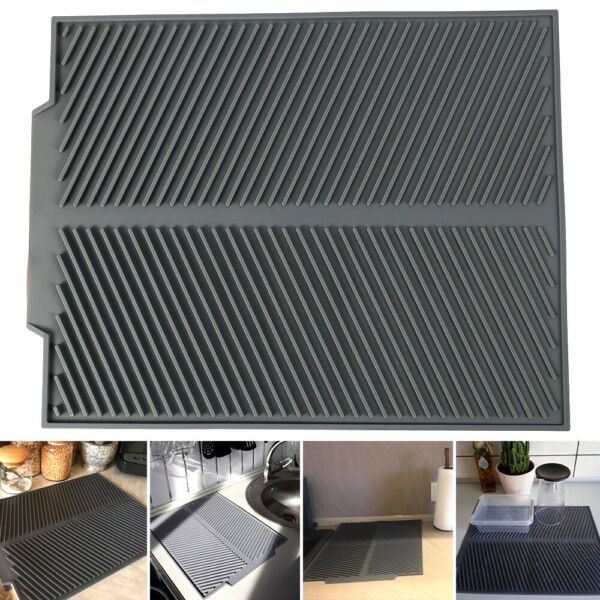 Silicone Dish Draining Mat Drying Draining Table Mat for Kitchen Mat Washable US