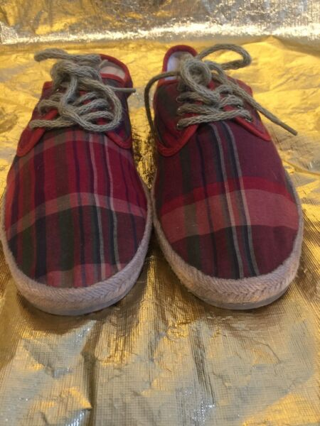 Ralph Lauren Mens Plaid Cloth Multi Colored Burlap Boat Shoes New Size 11D
