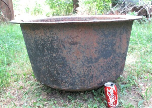 ANTIQUE COUNTRY USA HEARTH FIREPLACE CAST IRON POT COOKING CAULDRON COOK KETTLE
