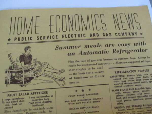 1940#x27;s Homemaking Public Service Electric amp; Gas Home Economics News PSEamp;G RARE $9.99