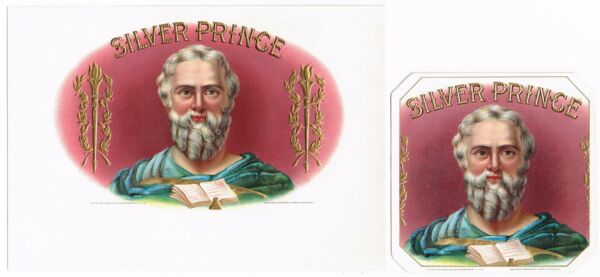2 CIGAR BOX LABEL PAIR VINTAGE 1910 EMBOSSED SILVER PRINCE SCHOLAR WRITER IN OUT