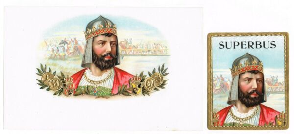 2 CIGAR BOX LABEL PAIR VINTAGE 1910 EMBOSSED SUPERBUS MILITARY KNIGHT GERMANIC
