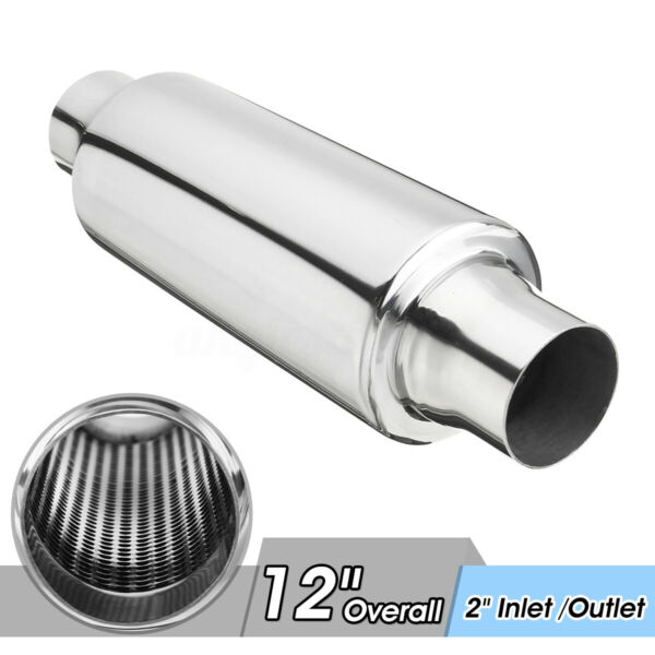 2'' Inlet/Outlet Universal Car Exhaust Turbine Muffler Resonator 12'' Overall US