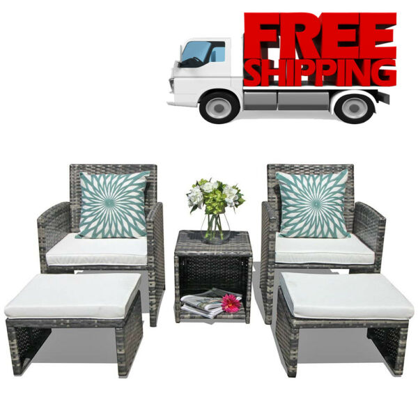 Patio Furniture Sets Clearance Outdoor Garden Rattan Wicker Chair With Ottoman