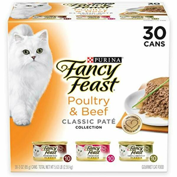Purina Canned Fancy Feast Grain Free Pate Wet Cat Food Variety Pack Poultry
