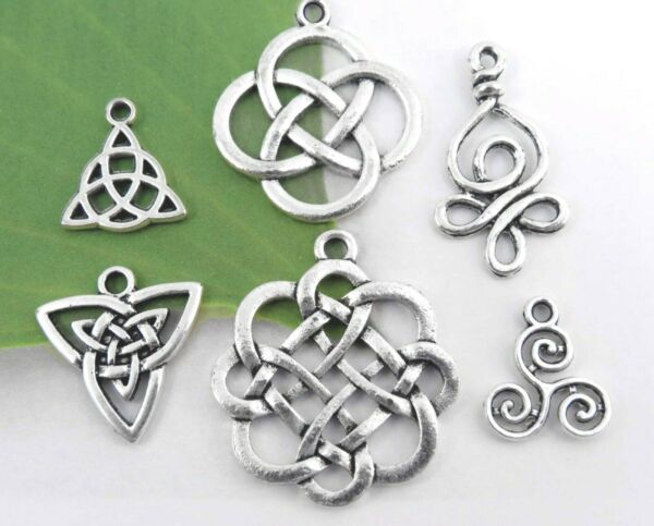 6 Irish CELTIC KNOT Charms Antique Silver Mixed Charm Collection Lot Tibetan Set