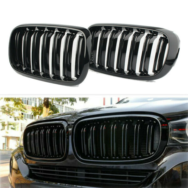 For 2014-2018 BMW X5 F15 X6 F16 Gloss Black Dual Slat Front Kidney Grill Grille