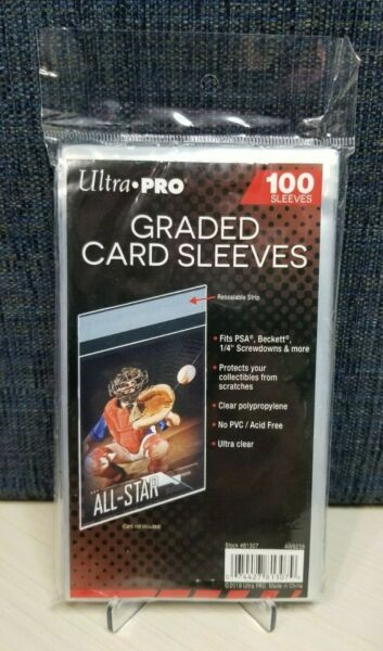 100 Ultra Pro Graded Card Sleeves with Resealable Lip Fits: PSABeckett +more