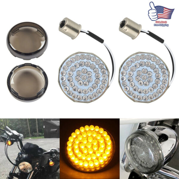 2quot; 1156 Bulb Bullet LED Turn Signal Light Inserts For Motorcycle Harley Touring