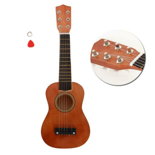 21 Inch Acoustic Guitar Wood for Children Kids Beginners w Pick Coffee