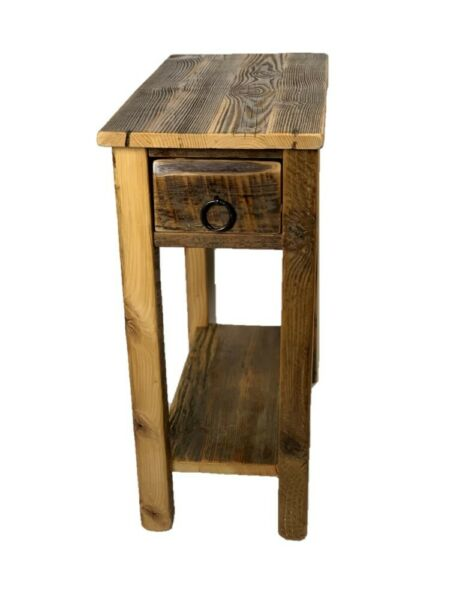 Rustic Barn Wood End Table Made In USA