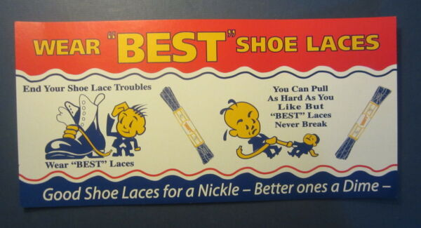 Old Vintage 1950's - BEST Shoe Laces - Cardboard Advertising Store Display SIGN