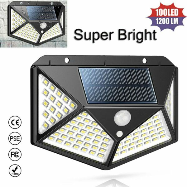Solar Powered 100LED Light Waterproof Outdoor Security Garden Lamp Dusk-to-Dawn