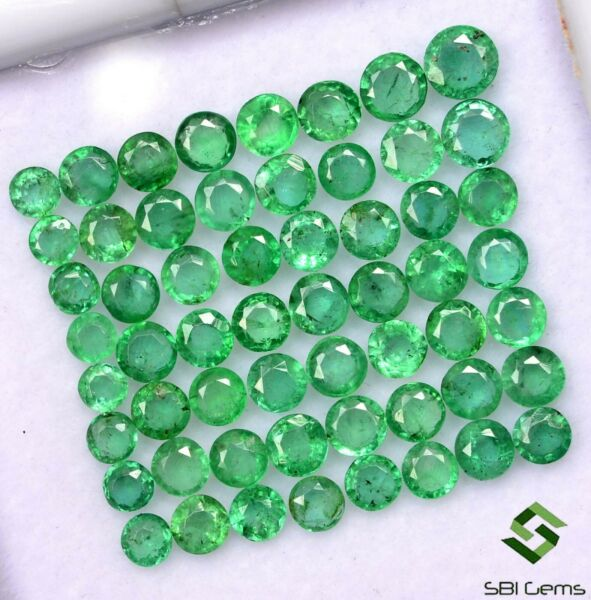 5.14 Cts Natural Emerald Round Cut 2 to 3 mm Lot 61 Pcs Faceted Loose Gemstones