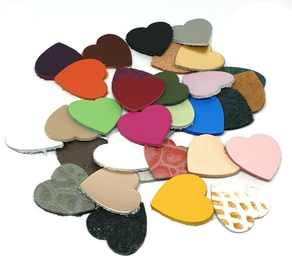 50pcs Geniune Leather heart appliques die cut for leather crafts accessories