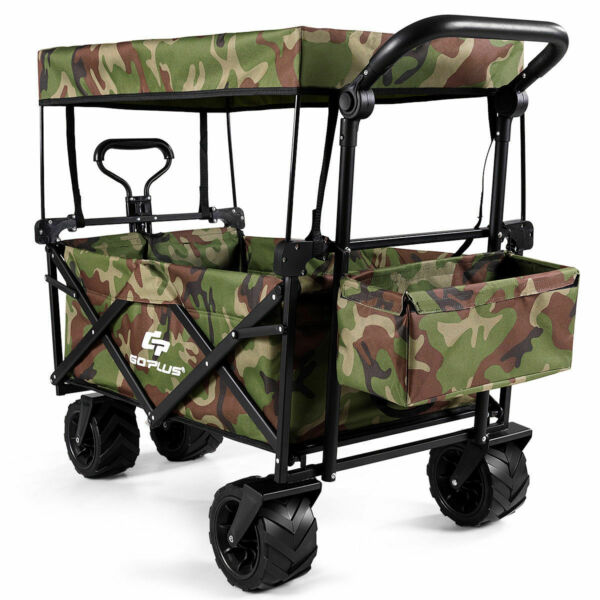 Collapsible Folding Wagon Cart W Canopy Outdoor Utility Garden Trolley Buggy