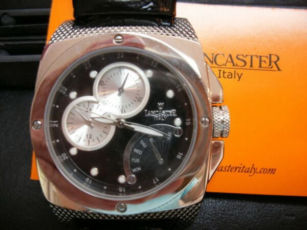 Mans Watch Lancaster Italy Registered Design All Stainless Mineral Glass Watch