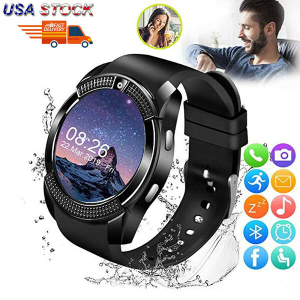 V8 Touch Screen Bluetooth Smart Watch Sports Pedometer Camera W GSM SMS New