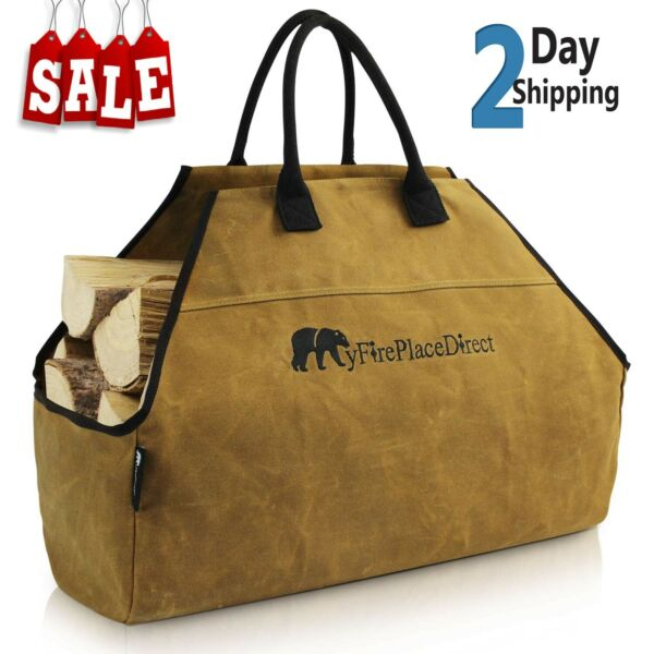 Waxed Canvas Log Carrier Bag Heavy Duty Wood Carrying Bag Extra Durable Bag