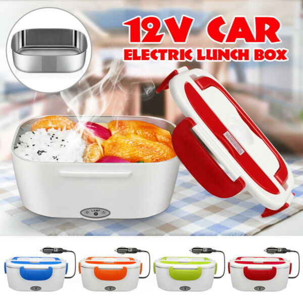 12V 1.5L Stainless Steel Portable Travel Electric Heated Warmer Lunch Bento Box