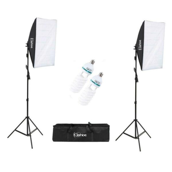 Studio Photography 2 Softbox Continuous Photo Lighting Kit w Carrying Bag