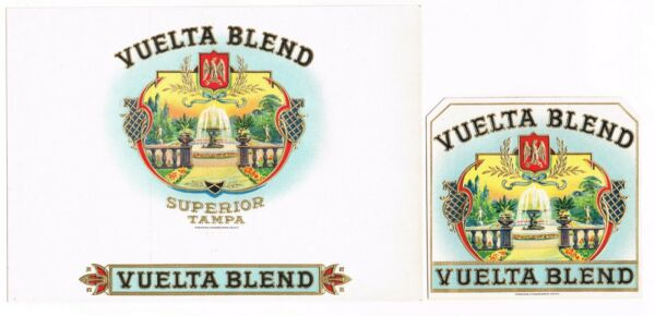 2 CIGAR BOX LABEL PAIR VINTAGE 1910 EMBOSSED VUELTA TAMPA FLORIDA FOUNTAIN