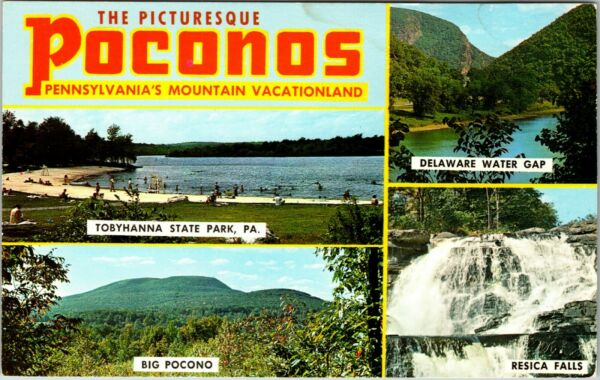 Postcard PA Banner Multiview Greetings From The Pocono Mountains Vintage A1