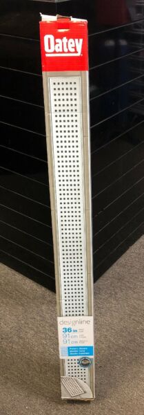 Oatey DesignLine 36quot; 91cm Square Grate Pattern Stainless Linear Drain..NEW
