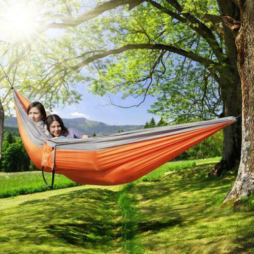 Double Outdoor Hammock Swing Bed Portable Parachute Nylon Fabric 2 person Travel $15.99