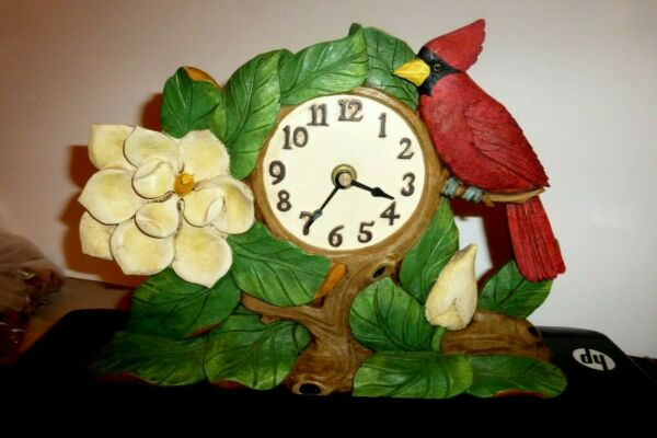 COLLECTIBLE CARDINAL BIRD with Leaves Dogwood Flower carved wooden  MANTEL CLOCK