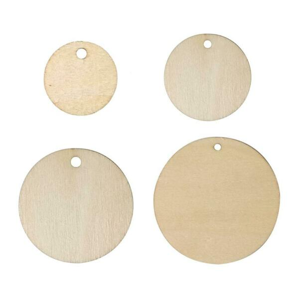 50pcs DIY Wood Slices Round Ornament for Scrapbooking Paper Crafts Home Decor