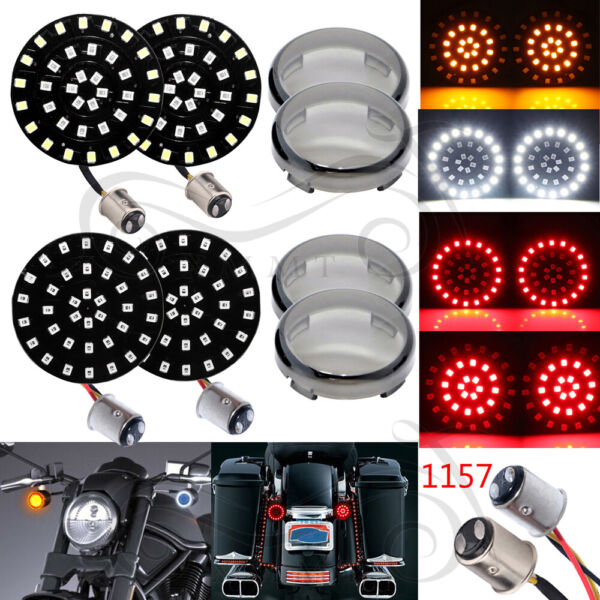 4X LED Turn Signals Light Inserts Smoke Lens for Harley Street Road Glide King