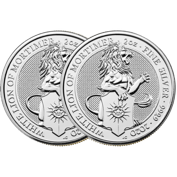 Lot of 2 - 2020 U.K. 5 Pound Silver Queen's Beast White Lion of Mortimer .9999 2