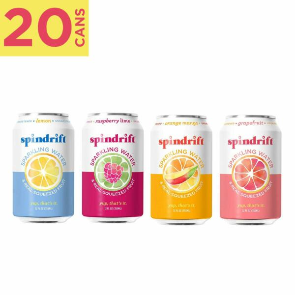 Spindrift Sparkling Water 4 Flavor Variety Pack Made With Real Squeezed Fruit