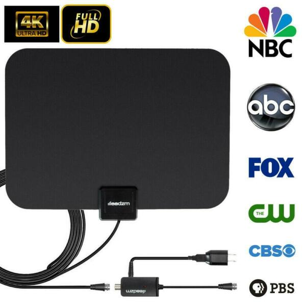 Leadzm 50miles Range Flat HD Digital Indoor Amplified TV Antenna with Amplifier