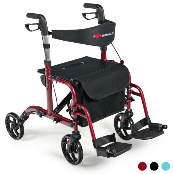 2 in 1 Folding Medical Rollator Aluminum Transport Chair Adjustable Handle Red