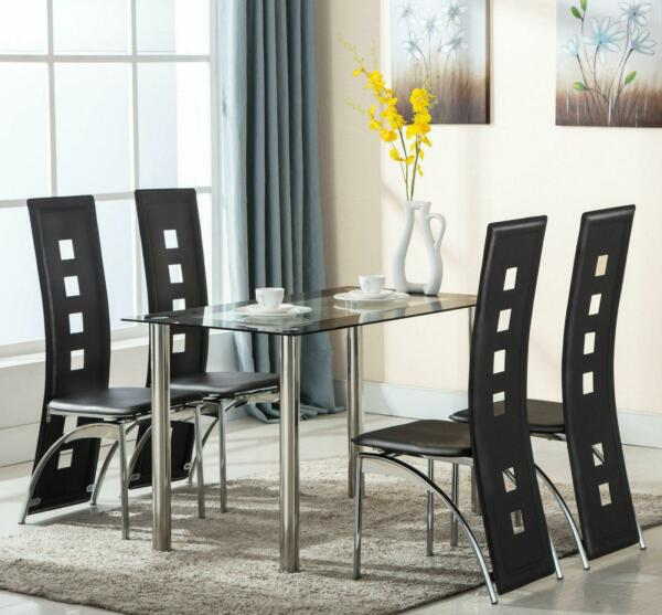 5 Piece Dining Set Table amp; 4 Chairs Steel Kitchen Room Furniture Black $209.90