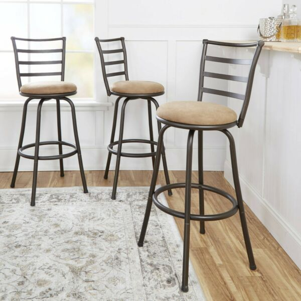 Adjustable Height 3 Bar Stool Set Swivel Tan Microfiber Seat Bronze Metal Frame $152.97