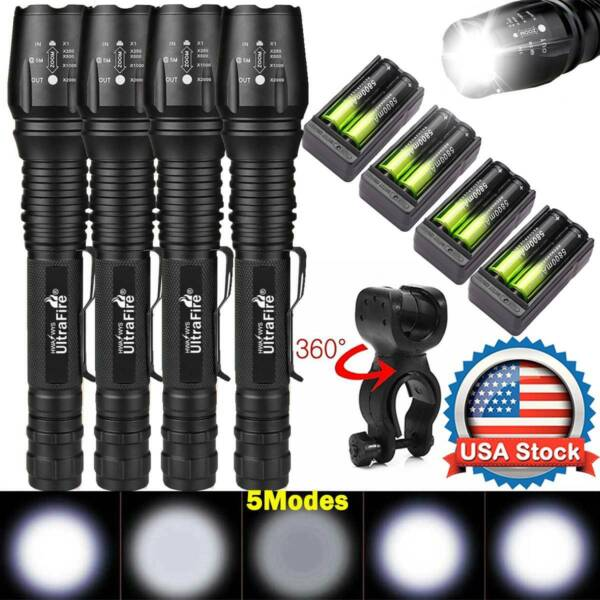 350000Lumens Tactical 5 Modes T6 Zoomable Focus 18650 LED Flashlight Torch Light