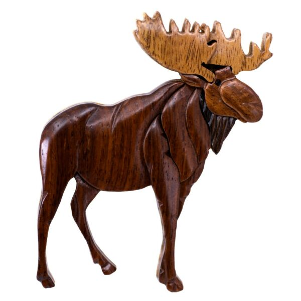 Wood Intarsia Full Moose Magnet Handcrafted 3.25