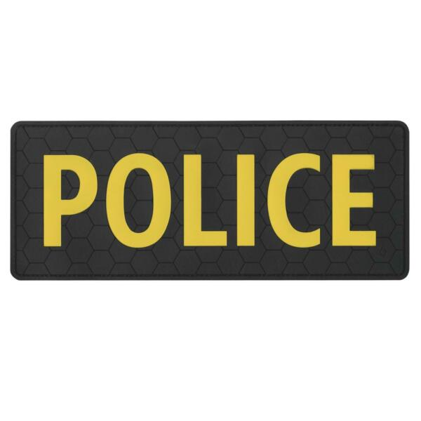 POLICE Large 10quot;x4quot; rubber PVC body armor plate carrier tactical SWAT hook patch $12.95