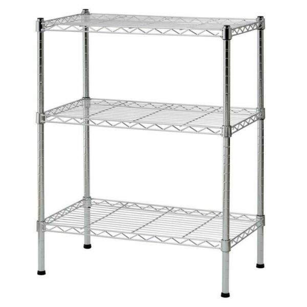 3 Tier Wire Shelving Rack Shelf Adjustable Unit Garage Storage Organizer Home