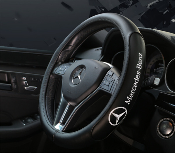 15in38CM Car Steering Wheel Cover For Mercedes Benz Black Genuine Leather Nice