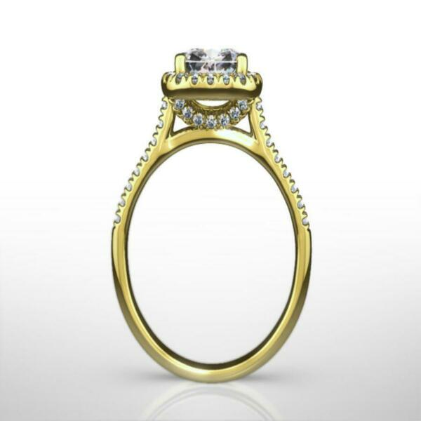 EXCLUSIVE 3.00 CT E SI1 CUSHION CUT DIAMOND RING 18 KARAT YELLOW GOLD LADIES