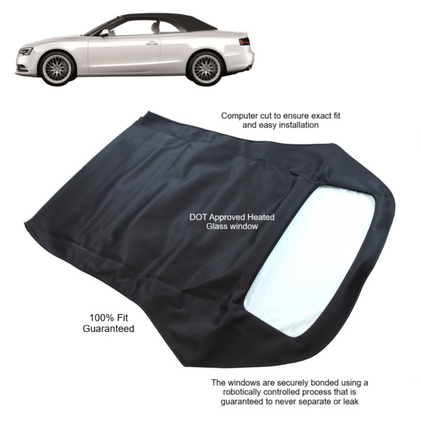 Audi A5/S5 2010-17 Convertible Soft Top With Glass Window Black Twillfast II RPC