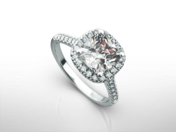DESIGN 3.00 CT E SI1 CUSHION CUT DIAMOND RING 18 KARAT WHITE GOLD LADIES