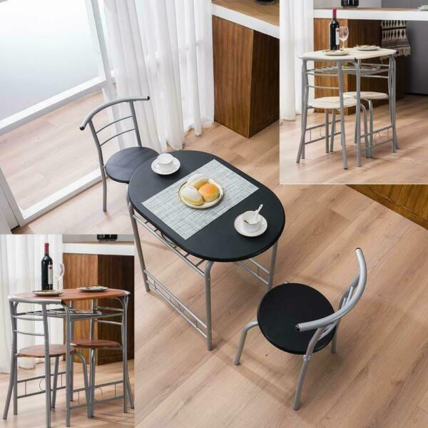 Durable Home Kitchen 3 Color Dining Set Table and 2 Chairs Breakfast Bistro Pub $68.90