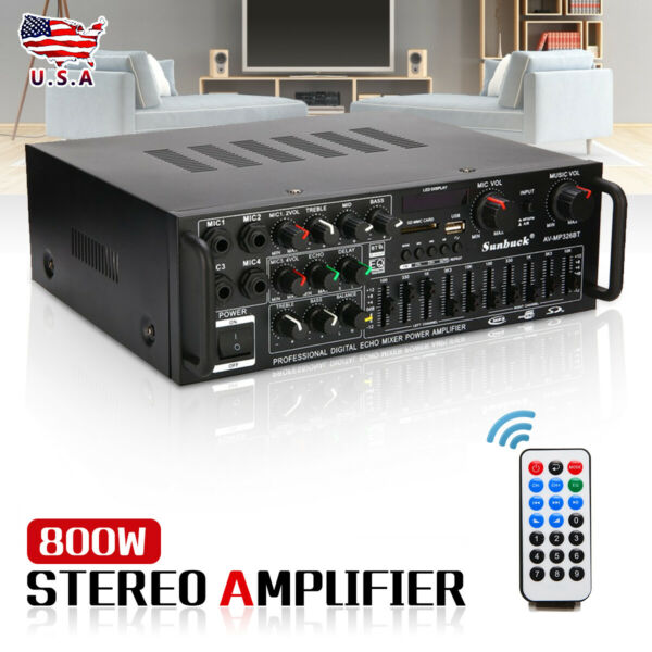 2000W 110V 2Ch bluetooth Home Stereo Amplifier Powered Equalizer EQ Receiver SD