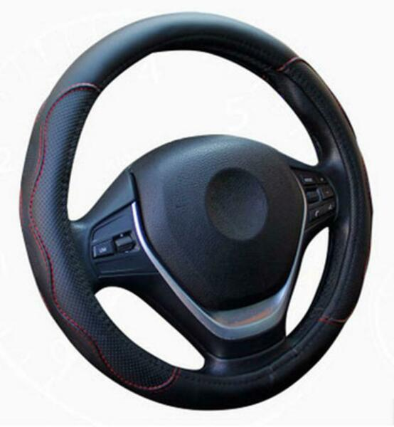 Black & Red PU Leather Car Steering Wheel Cover 38CM 15