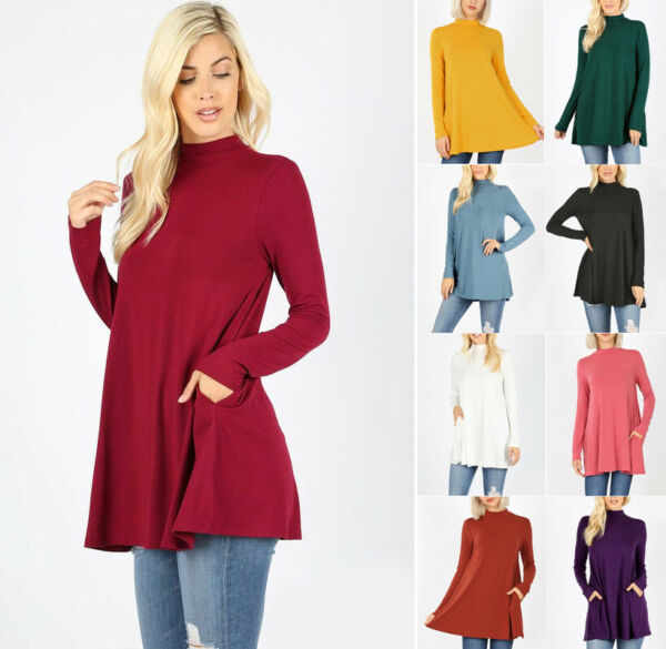Women's Mock Turtle Neck Swing Top Long Sleeve Solid Soft Stretch Knit Basic